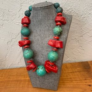 Large Chunk Turquoise & Coral Necklace